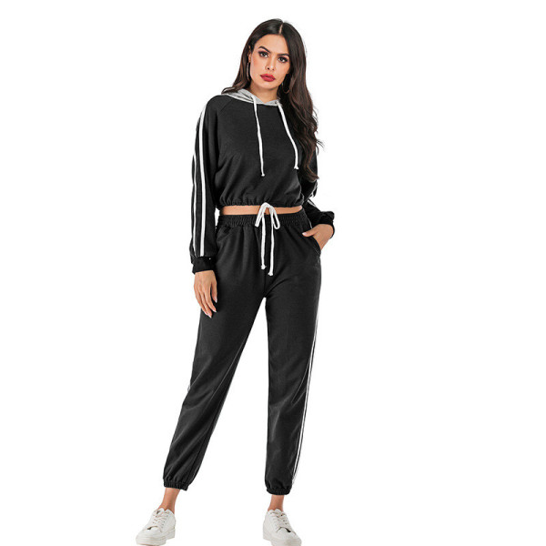 Women Long Sleeves Hooded Short Stripes Top and Sports Pants Two-piece Sets