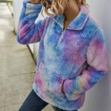 Women Plush Tie-Dye Ombre Pullover Pocket Sweatshirt Tops