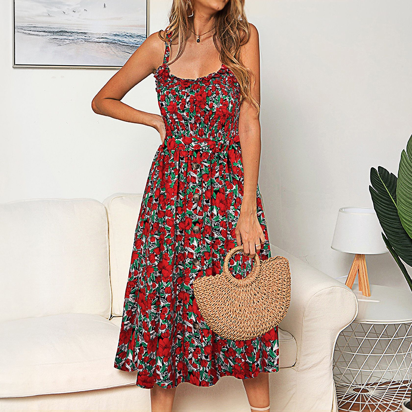 Women Floral High Waist A-line Slip Dress
