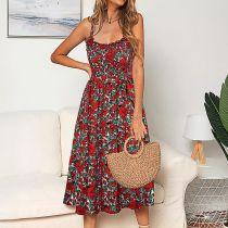 Women Floral High Waist A-line Slip Dress
