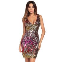 Women V-neck Sequins Bodycon Sleeveless Party Dress