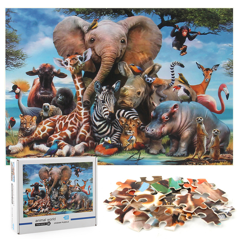 Animals World Develop Creativity Play 1000 Pieces Cardboard Puzzles For Adults Kids