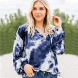 Women Tie-Dye V-neck Bottons Long Sleeves Loose Sweatshirt Tops