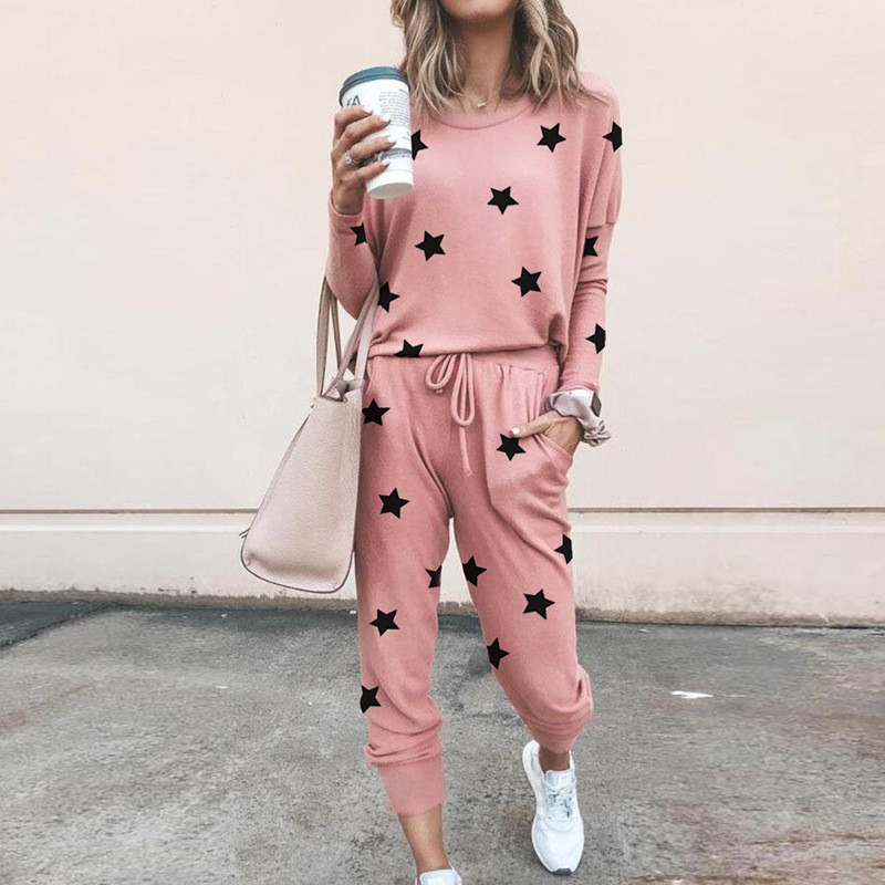 Women Prints Leaves Stars Long-Sleeved Round Neck Top and Pant Casual Lounge Sets