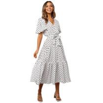 Women Polka Dots V-neck A-line Maxi Dress
