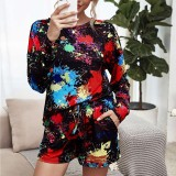 Women Colorful Tie-Dye Long Sleeves and Shorts Home Casual Lounge Sets