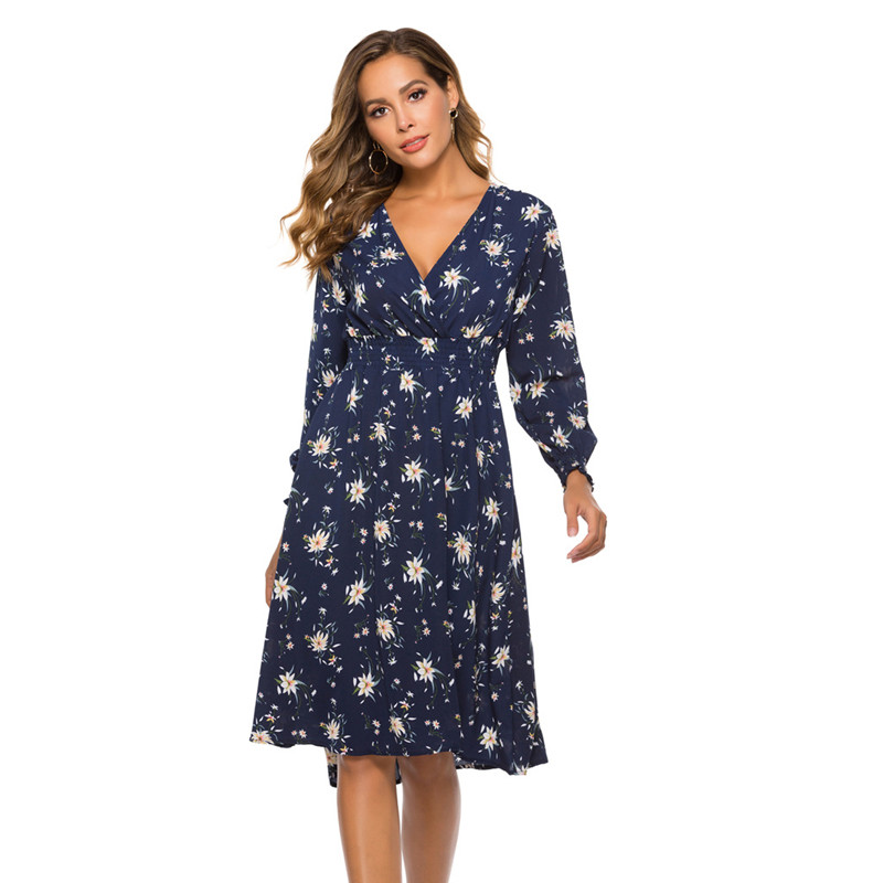 Women Long Sleeve Floral Print Midi Dress