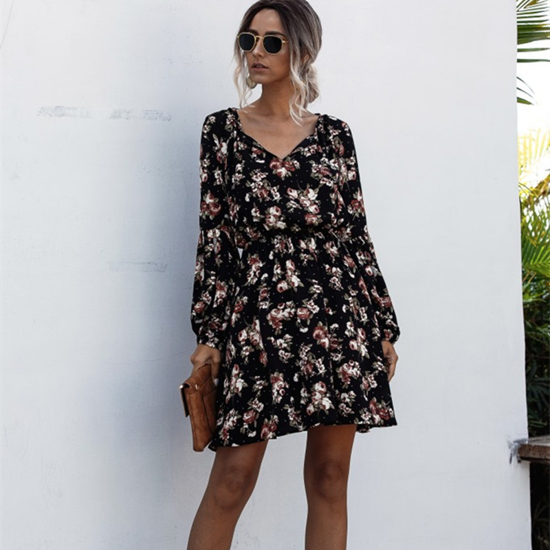 Women Floral Print V-neck Long Sleeve Mini Dress
