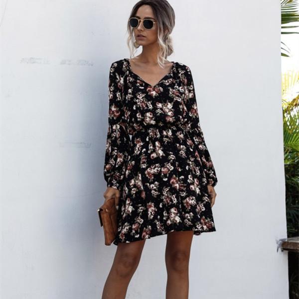 Women Floral Print V-neck Long Sleeve Mini Dress