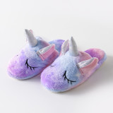 Toddlers Kids Flannel Unicorn Warm Winter Home House Slippers