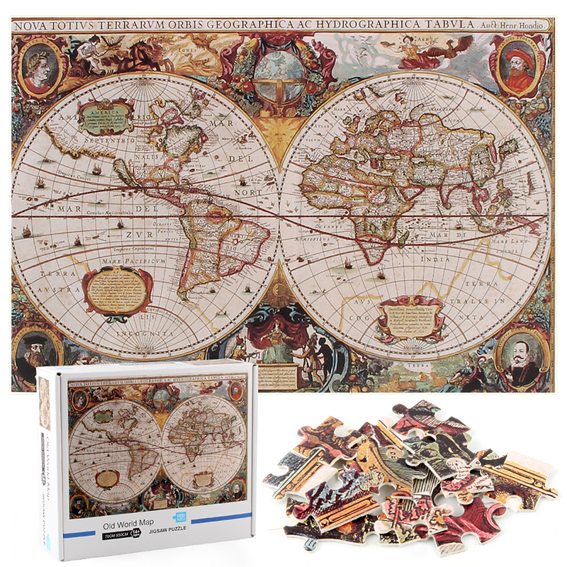 Old World Map Develop Creativity Play 1000 Pieces Cardboard Puzzles For Adults Kids