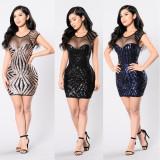 Women Mesh Sequin Tight Casual Mini Dress