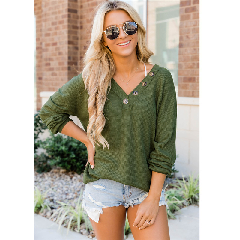 Women V-neck Bottons Long Sleeves Loose Sweatshirt Tops
