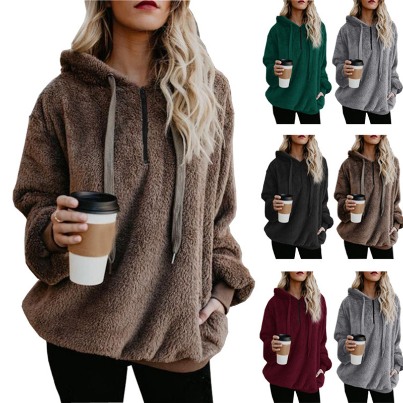 Women Plush Pullover Hooded Pockets Sweatshirt Tops