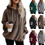 Women Plush Pullover Hooded Pockets Sweatshirt Tops