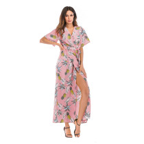 Women Floral Print Split V-neck Maxi Wrap Dress