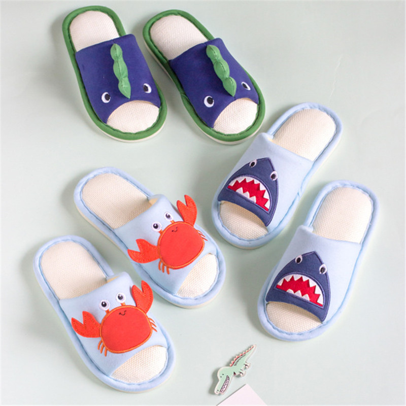 Toddlers Kids Shark Crabs Summer Fiberflax Home Slippers