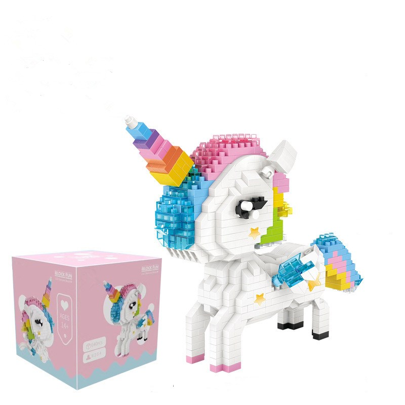 Ceative Play Mini Building Blocks Unicorn Puzzles Toys 640PCS For Kids 6+ Boys Girls Gifts