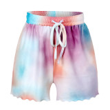 Women Tie-Dye Long Sleeves Tops and Shorts Home Casual Lounge Sets