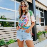 Women Tie-Dye Prints Tongues Loose T-shirt Tops