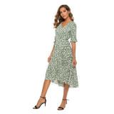 Women Floral Print V-neck Bell Short Sleeves Wrap Dress