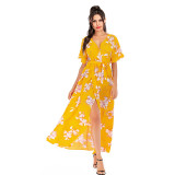 Women Floral Print Split V-neck Wrap Maxi Dress