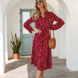 Women Leopard High Waist V-neck Long Sleeve Maxi Dress