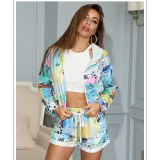 Women Tie-Dye Hooded Long Sleeves Jacket and Shorts Sports Sets