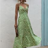 Wome Floral Print High Waist V-neck Slip Backless Maxi Dress