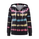 Women Tie Dye Prints Heartbeat Long Sleeve Pullover Hooded Sweatshirt Tops
