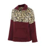 Women Plush Leopard Pullover Long Sleeves Sweatshirt Tops