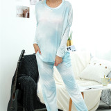 Women Tie-dye Long-Sleeved Round Neck Casual Home Lounge Sets