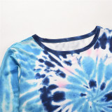 Women Tie-Dye Color Matching Crew Neck Pullover Sweatshirt Tops