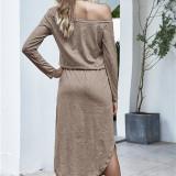 Women One Shoulder Long Sleeve Casual Dress