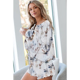 Women Flowers Print Long Sleeves Tops and Shorts Home Casual Lounge Sets