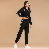 Women Zipper Hooded Long Sleeves Short Top and Stripes Pants Sports Two-piece Sets