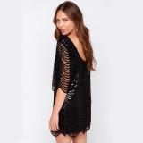 Women Wave Sequins Round Collar Mini Dress