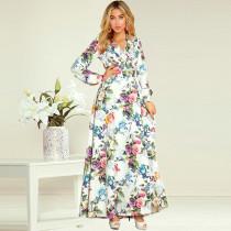 Women Floral Print Ruffles V-neck Long Sleeve MaxiDress