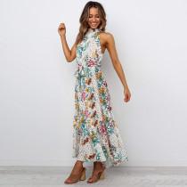 Women Floral Print Halter Tight High Waist Sleeveless Maxi Dress