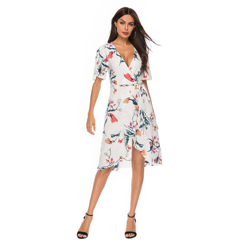 Women Floral Print V-neck Short Sleeve Wrap Dress