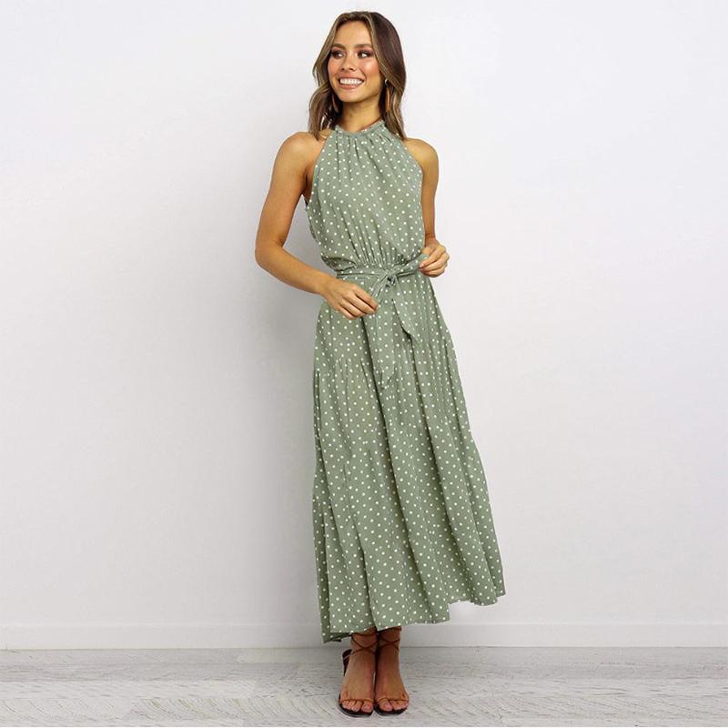 Women Polka Dots Helter High Waist Sleeveless Maxi Dress