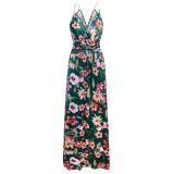 Women Tie-Dye V-neck Slip Sleeveless Beach Maxi Dress