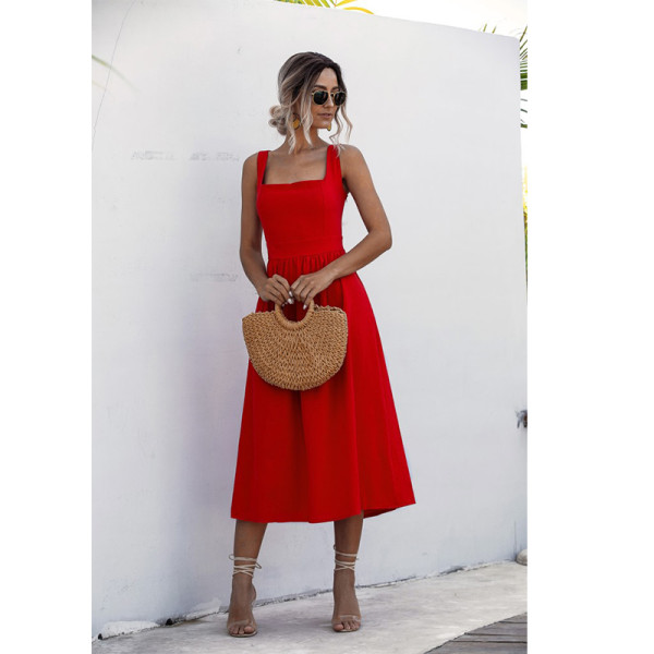 Women Square Neck Slip A-line Maxi Dress