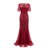 Women Embroidery Leaves Mesh Sequins Mermaid Maxi Party Dress
