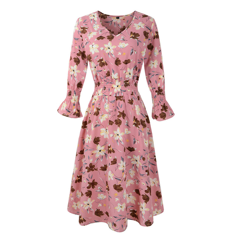 Women Floral Print V-neck Bell Short Sleeves Dress