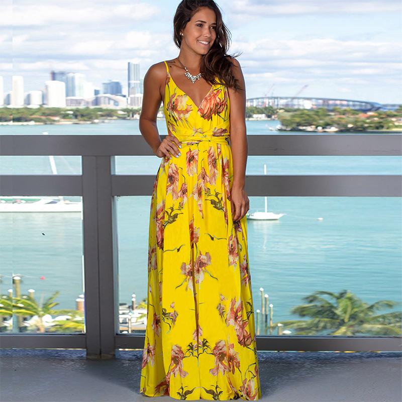 Women Yellow Floral Print V-neck Slip Beach Maxi Dress