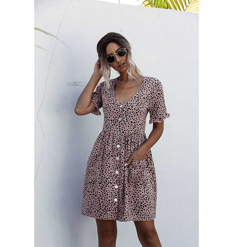 Women Dots Buttons Ruffles Short Sleeve Casual Shirt Dress