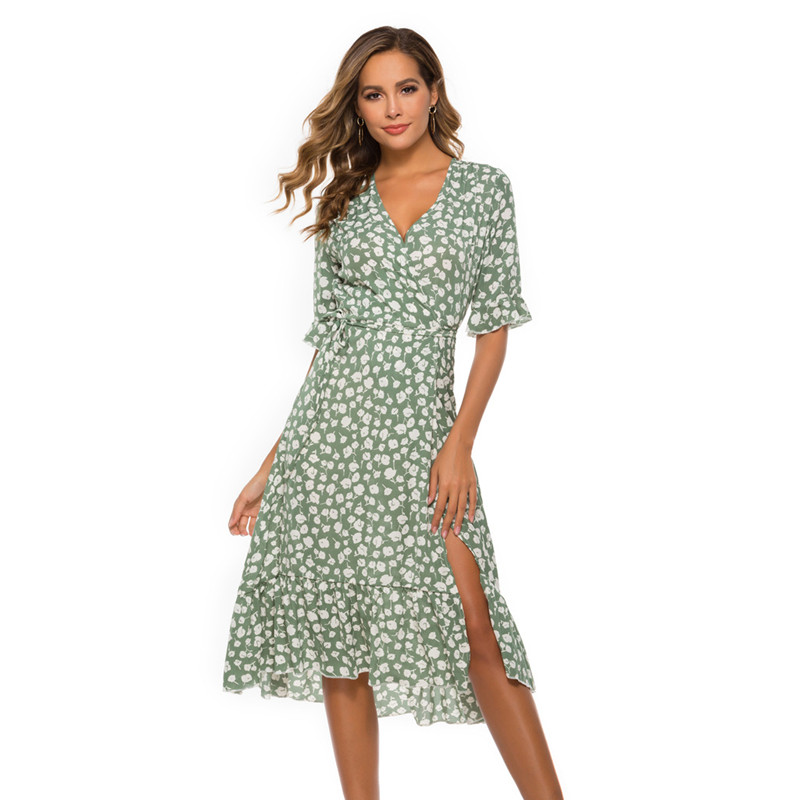 Women Floral Print V-neck Bell Short Sleeves Wrap Dress