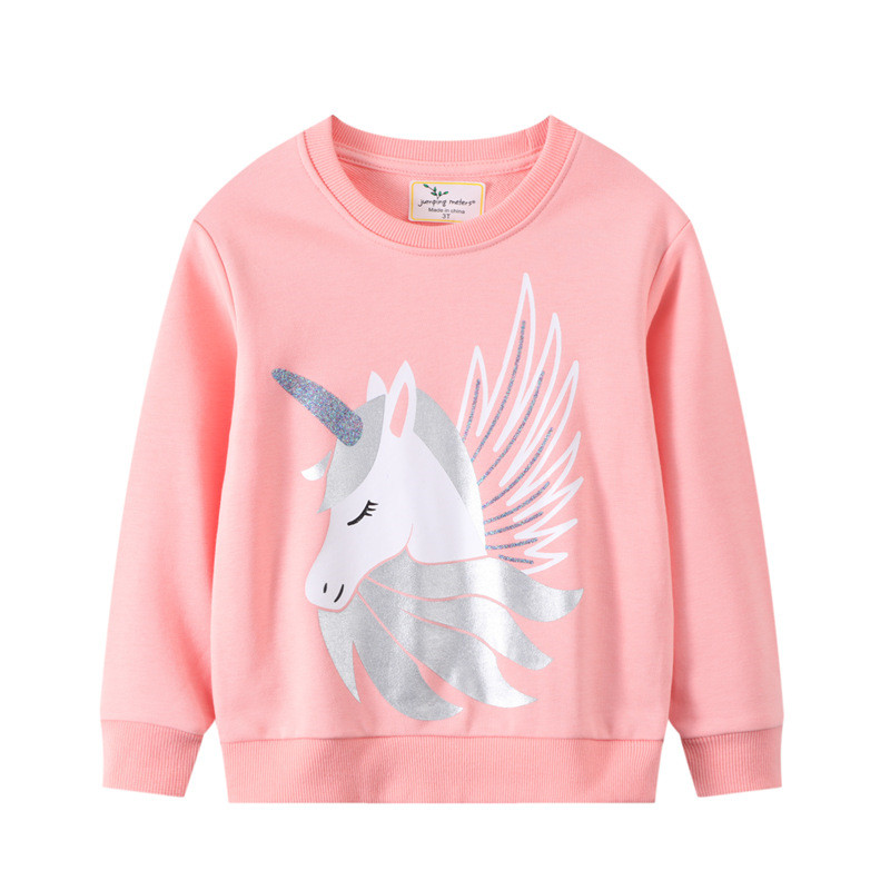 Toddler Girl Pink Unicorn Pattern Long Sleeve Pullover Sweatshirts Tops