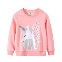 Toddler Girl Pink Unicorn Pattern Long Sleeve Pullover Sweatshirts Tops